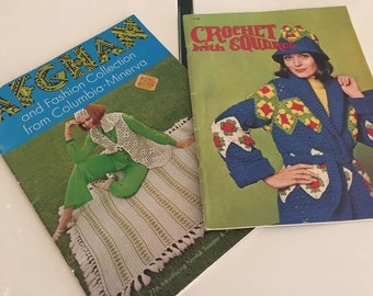 Groovy Vintage Crafty Crochet Pattern Magazines from 60's 70's Set of Two