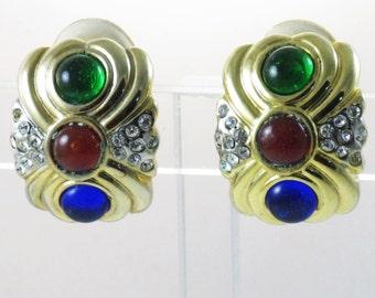 Vintage Gold Tone Multicolored Cabochon Rhinestone Clip Earrings  (E-1-2)