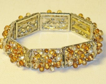 Vintage Gold Topaz Rhinestone and Moonglow Stretch Panel Bracelet (BR-3-2)
