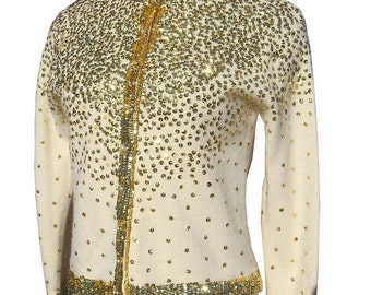 Vintage 50s 60s Gold Sequin Sweater size 42  36 bust Lambswool 1950s 1960s