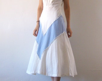 1940s Dress White Blue Chevron Stripe Cotton Full Skirt Vintage Tea Dress XS