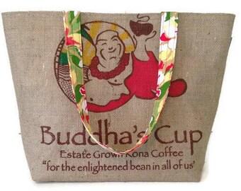 MTO. Custom. Buddha Burlap Tote. Repurposed Buddha's Cup Kona Coffee Bag. Handmade in Hawaii.