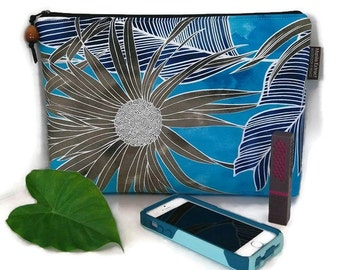 Hala Tree Tropical Print Clutch, Blue and Green. Koa Wood Zipper Pull. Handmade in Hawaii.