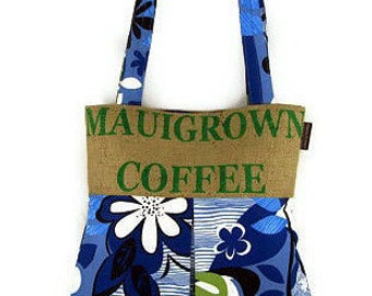 MTO. Custom. Maui, Burlap and Pleated Hobo Handbag. Repurposed Mauigrown Coffee Sack. Handmade in Hawaii.