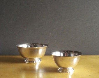 Sweet Silver Pair - Set of Two Small Silverplate Bowls