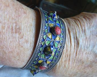 Moroccan Berber bracelet, silver coral enamel bracelet, antique Moroccan bracelet