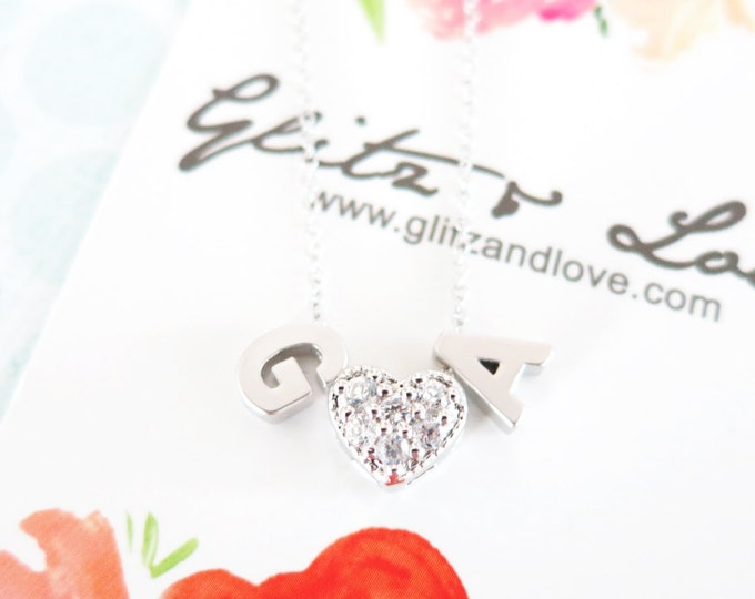 Personalised Silver Letter and Crystal Love Necklace - Initial necklace, monogram, friendship, cubic zirconia heart couples initial necklace