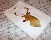Adorable Long sleeve Comfort colors tshirt with Heat applied vinyl Reindeer in gold with red glitter nose. Womens Christmas Shirt. Reindeer