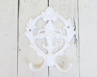 Shabby Cottage Hooks, Large Ornate Hook, Vintage Inspired, Fancy Hook, Towel Coat Hook, White Hooks, French Cottage, Paris Apartment