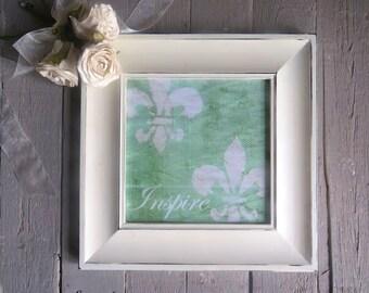 Fleur De Lis Art, Inspirational Art, Inspire, Framed Print, Paris Chic, Green Art, Shabby Cottage Chic, French Cottage Decor, White Frame