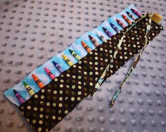 Crayon Roll- Crayon Holder- 16 Crayola Crayon Holder- Crayon Organizer- Girl Birthday Present- Toddler Stocking Stuffer-Crayon Holder