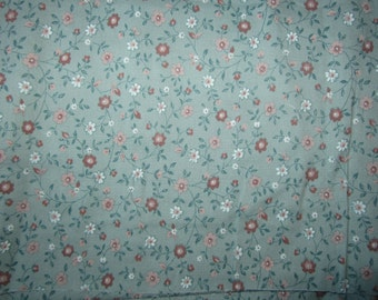 Sage green and Clay floral cotton, 1 and 2/3 yard, L