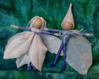 Christmas Elf,  Christmas Fairy - Blue, Waldorf Flower Fairy,  Father Winter - bendy, art, art doll