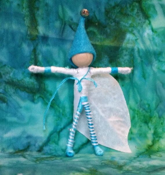 Jack Frost Christmas Elf, Christmas Fairy -  Icy blue, Waldorf Flower Fairy,  Father Winter - bendy doll -  art doll