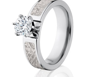 Meteorite Engagement Rings w/ 14k Prong Setting, Premium Comfort Fit: Meteorite-Ring-6F14G1RndPr