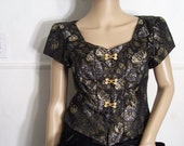 Vintage Brocade Blouse. Hampton Nites. Size Med/Large. 1980's. Metallic Brocade. Decorative Front Frogs. Sweetheart Neckline. Evening Wear.