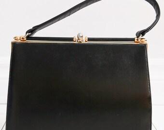Birks Deco Brass Clasped Kelly Bag - Black