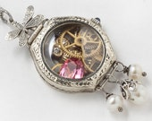Antique Edwardian Watch Case Necklace in 14K White Gold Filled with Gears, Owl, Pink Tourmaline, Blue Sapphire, Pearl & Silver Dragonfly