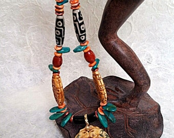 Long Tribal Boho Frog Necklace of Carved Bone, Turquoise, Red Jasper, Lions Paw, and Carved Agate