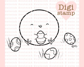 Easter Egg Hunt Digital Stamp - Chick Digital Stamp - Digital Easter Stamp - Chick Art - Easter Card Supply - Easter Craft Supply