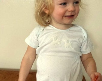 Vintage Infant Romper. 1 YR. White with Appliqued Fuzzy Lambs. Gathered Sides.  Boys or Girls. Snap Bottom. Cute Summer Baby Outfit. Carters
