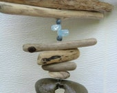 Driftwood Mobile With Blue Glass Beads and Holey Rock-DC1063
