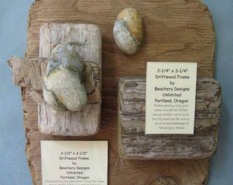 Rustic Driftwood Frame With Rocks-DFW16