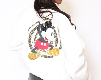 Vtg 80s 90s Fun White Sequin Mickey Mouse Novelty Disney Hip Hop Bomber Jacket M