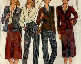 1970's Butterick No. 6738 of Jacket , Blouse , Skirt and Pants Office Wear Designed by Rena Rowan of Jones New York Bust 34