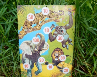 Vintage Tin Animal Target Carnival Game Jungle Hunt Circus Dartboard
