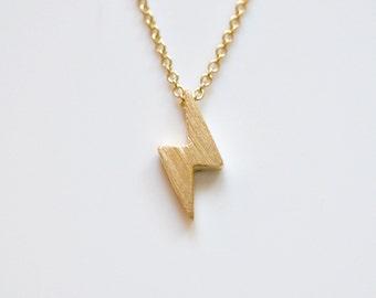 Lightning bolt necklace, brushed gold, thunder bolt pendant, lightning strike charm, celebrity, edgy, minimalist, modern jewelry - Kristin