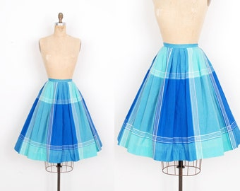 Vintage 1960s Skirt / 60s Plaid Cotton Full Skirt / Blue (small S)