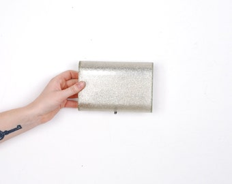 Vintage 1950s Clutch / 50s Lucite Glitter Evening Clutch / Clear and Silver