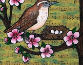 Carolina Wren Springtime Collage, Original, One of a Kind, Acrylic and Mixed Media Painting