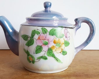 Lustreware Teapot, Single Serving, Lusterware, Made In Japan, Hand Painted Florals, Display Tea Pot, Kitchen Decor