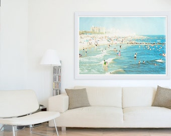 "Large Beach Photography, Coney Island Beach Photography, Large Scale Art, Big Prints, Beach Prints, Living Room Art - ""Peeps Dips"""