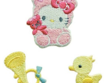 Mini Hello Kitty Patch, Kawaii Sanrio Embroidered Iron On Patch, Japanese Cute Iron on Applique, Made Japan, Embroidery Applique, 3PCS, W209