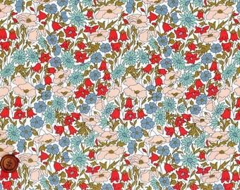 Liberty Tana Lawn Fabric, Liberty of London, Liberty Japan, Poppy & Daisy, Cotton Print Scrap,  Floral Design, Quilt, Patchwork, kt2104a