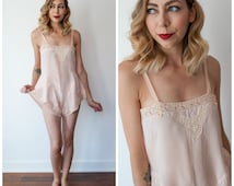 Vintage 1920's/1930's Silk Teddy/ 1920's Silk Lingerie/ Pale Pink Silk and Lace Teddy Slip/ Silk Romper/Lingerie Size X-small