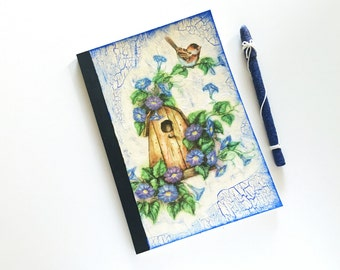 Shabby Journal with decoupage of birdhouse and flowers in provencal colors - soft cover