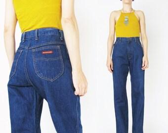 Vintage 70s Straight Leg Jeans Womens 1970s Indigo Jeans Dark Wash Blue Jeans Boho Western Jeans Denim Vintage Petite Womens Jeans (M)