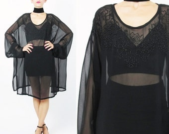 90s Sheer Black Dress Mesh Cover Up Floral Beaded Black Dress See Through Black Dress Plus Size Long Sleeve Swim Beach Goth Dress (L/XL)