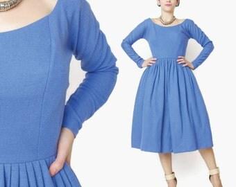 25% OFF Vintage 1950s Blue Wool Dress Blue Winter Dress Dolman Long Sleeve Wool Dress Crinoline Periwinkle Blue Fit and Flare Dress (XS)