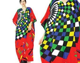 Psychedelic Caftan Dress 70s Abstract Op Art Print Dress Hippie Boho Kaftan Trippy Print Maxi Dress Red Cotton Bright Muu Muu Dress (M/L/XL)
