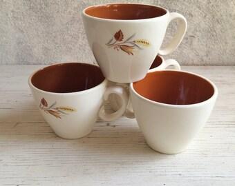 Four vintage coffee cups Taylor Smith & Taylor Autumn Harvest wheat pattern china cups, farmhouse decor, wheat decor, vintage kitchen 1950s