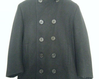 1960s JC Penney PEA COAT jacket, us navy military sailor coat with anchor buttons, mens size small - medium