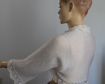 Crochet Shrug, Knit Crochet Bolero,  Hand Knit  Crochet  Ivory  Shrug  Bolero , Wedding shrug bolero, Cover up, Bridal bolero, 3/4 sleeved