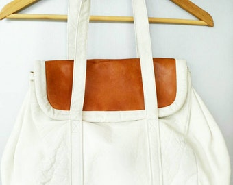 Vintage White Leather Handbag from Lord and Taylor