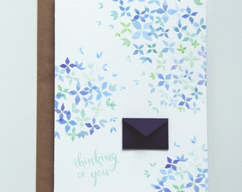 Thinking of You Watercolor Hydrangea  - Tiny Envelopes Card