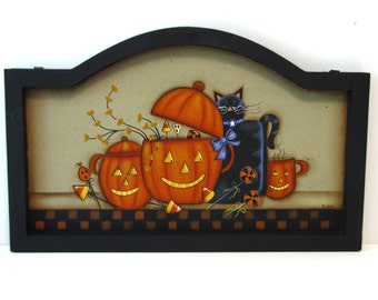 Primitive Pumpkin Cups with Black Cat Framed Arched Sign, Handpainted Wood, Hand Painted Halloween Home Decor, Wall Art, Tole Painting, B3